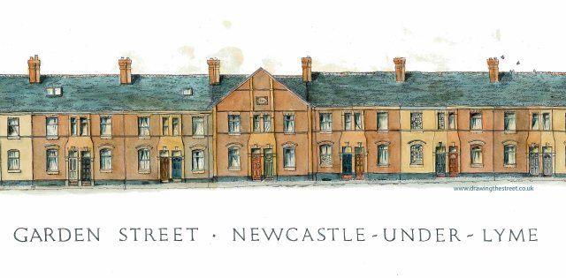 pen and ink drawing of Garden Street, Newcastle under Lyme