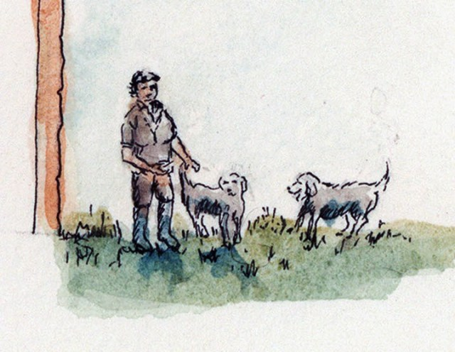 Mrs Blacknell and the Labradors