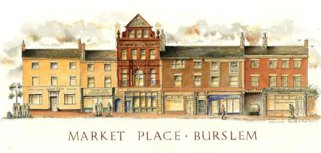 Pen and ink Drawing of Market Palce north side Burslem