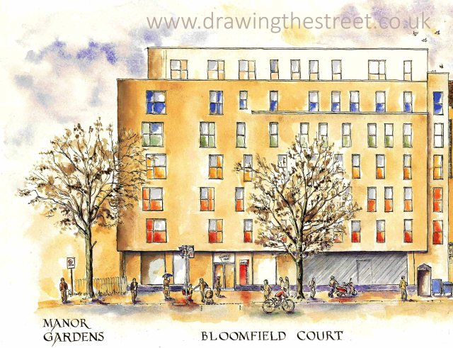 pen and ink drawing of Bloomfield Court London