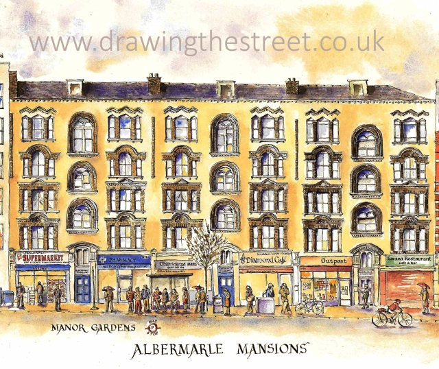 pen and ink drwaing of Albermarle Mansions Holloway Road