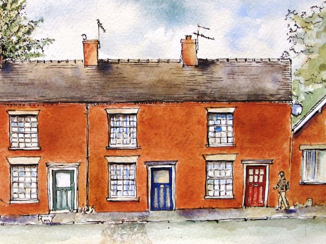 pen and ink drawing of Stone Road Staffordshire
