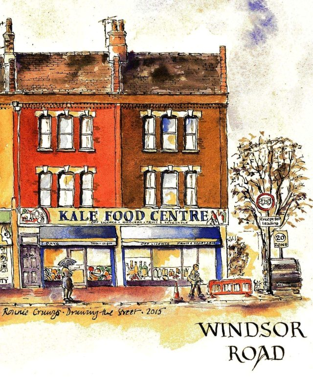 pen and ink drawing of Kale Food Centre Holloway Road