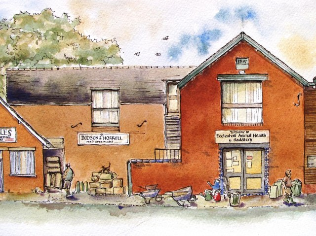 pen and ink drawing of Eccleshall Animal Health