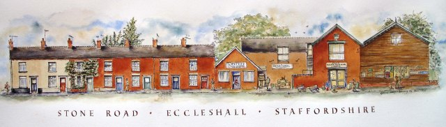 drawing of Stone raod Eccleshall Staffordshire