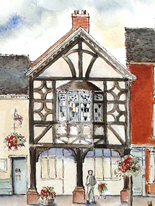 drawing of Wine Etc, High street Eccleshall