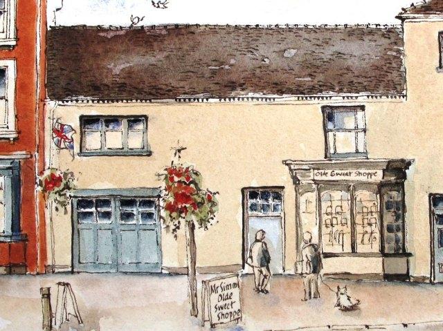 drawingof Mr Simms sweet shop eccleshall