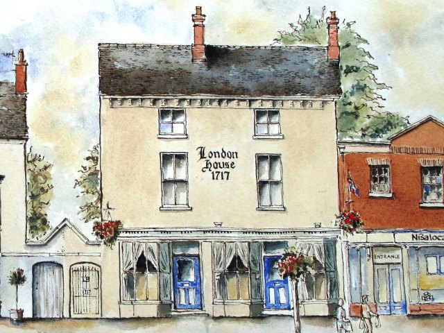 Pen and ink drawing of London House Eccleshall