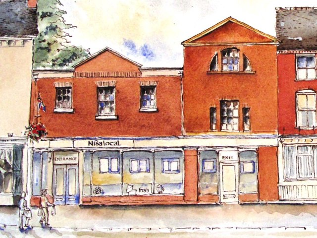 drawing of listed building on High Street Eccleshall