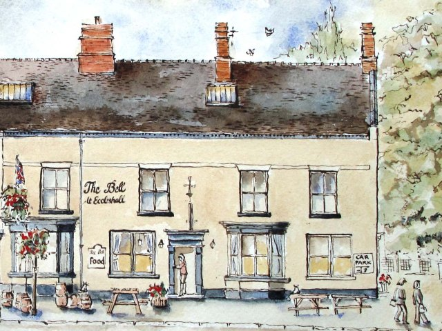 drawing of the Bell pub, Eccleshall