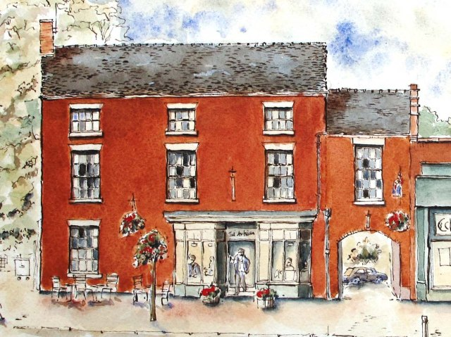 drawing of the artisan, high street, eccleshall