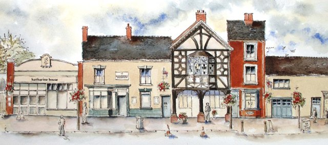 drawingof buildings in Eccleshall