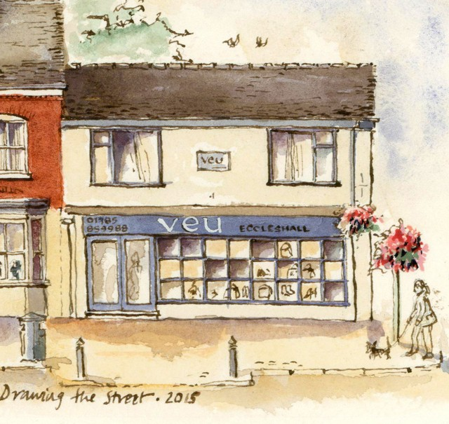 pen and ink drawing of Veu High St Eccleshall