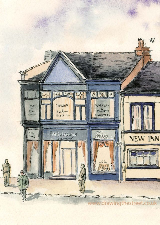 drawing of India Cottage, Market Place Burslem