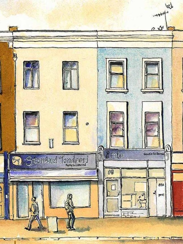 pen ink and egg tempera wash of Holloway Road London