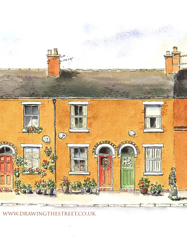 21 and 23 York Street Leek Staffs drawing in pen and ink and egg tempera