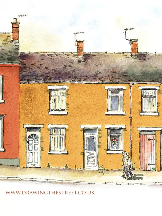 5 and 7 York Street Leek Staffs pen and ink drawing