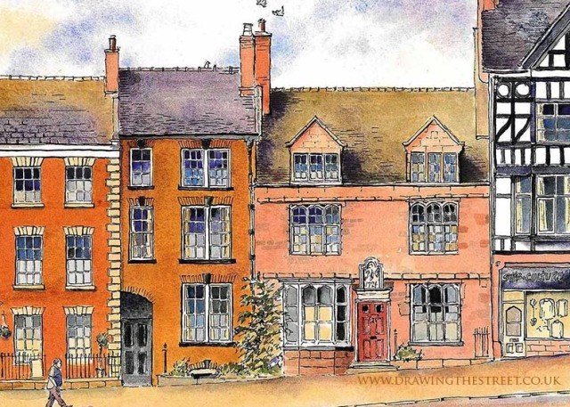 artist drawing of building dated 1724 Leek