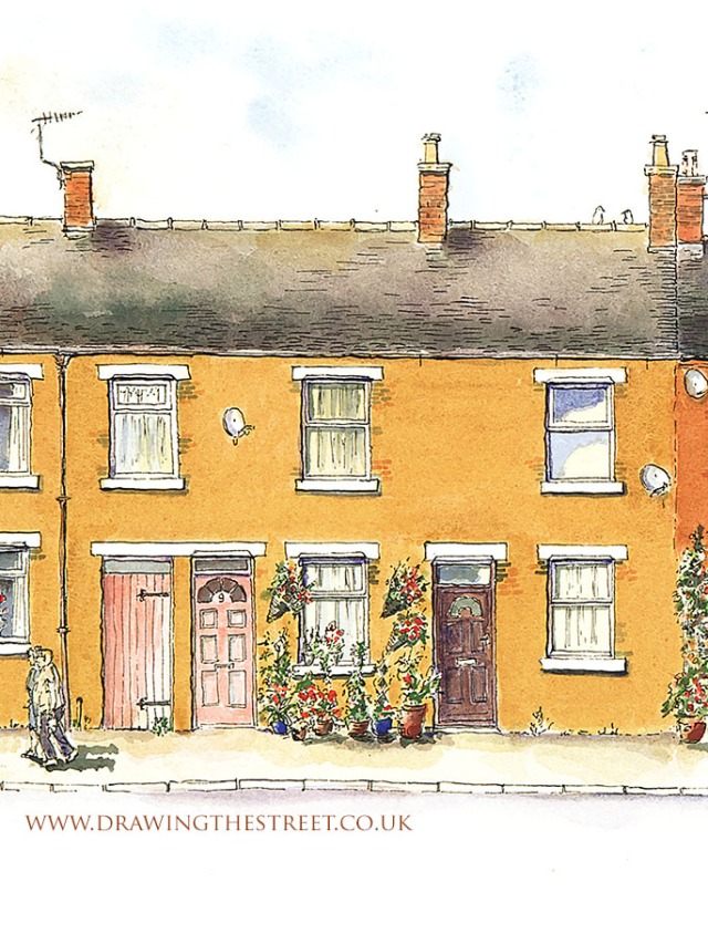 Pen and ink drawing of architecture in Leek