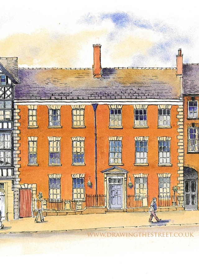 drawing of red brick georgian building leek