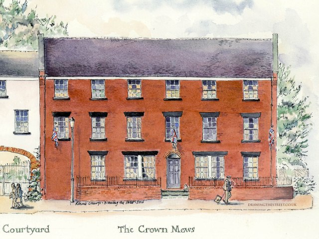 crown mews red brick building in Audlem Square