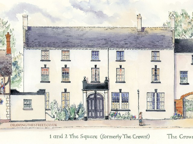drawing of the Square, fromerly the Crown Audlem