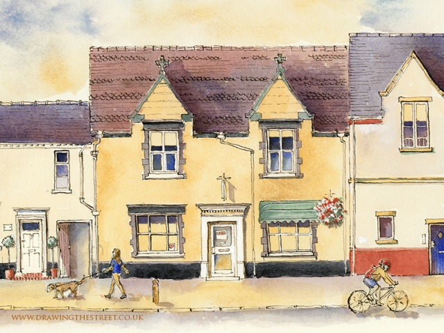 pen and ink artwork of no 5 stafford street eccleshall