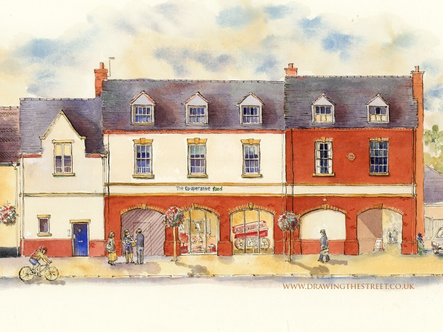 Drawing of Eccleshall Cooperative Food store