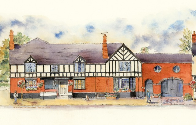 pen and ink drawing of the kings arms historic pub in Eccleshall
