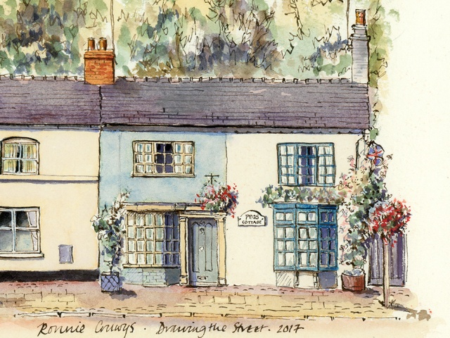 Peg's Cottage Eccleshall pen and ink drawing