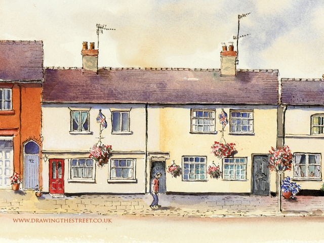 pen and ink drawing of High Street Eccleshall
