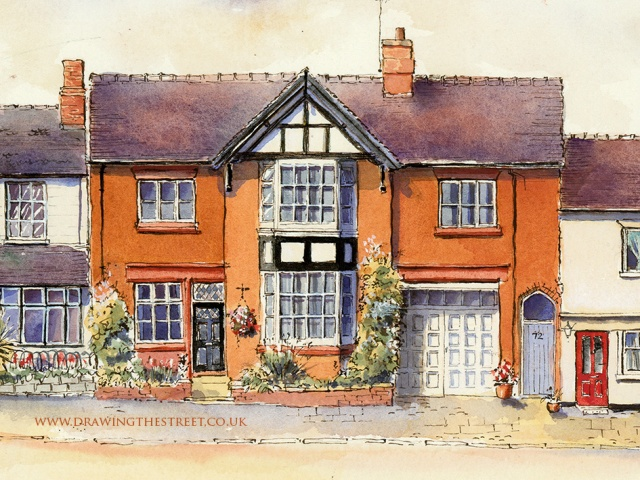 red brick house painting on Eccleshall High Street