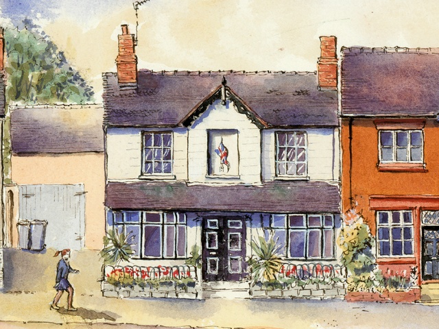 pen and ink drawing of 74 High street Eccleshall