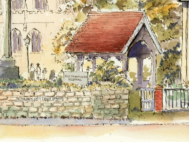 pen and ink drawing of Holy Trinity Church Eccleshall lychgate