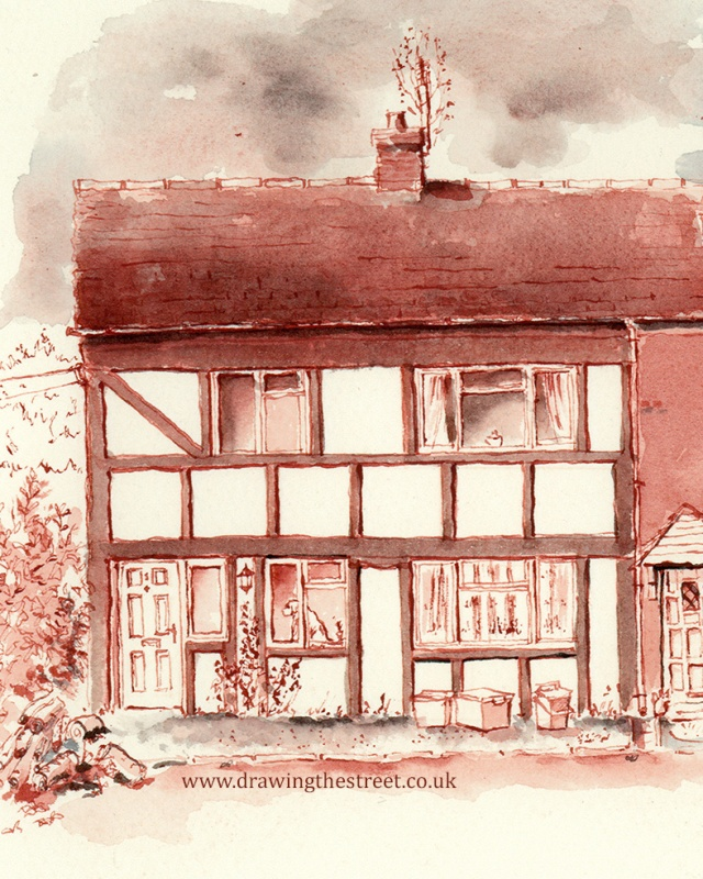 dog in the window of drawing of station cottages Baldwins Gate