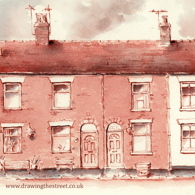 pen and ink drawing of station cottages in Baldwins Gate