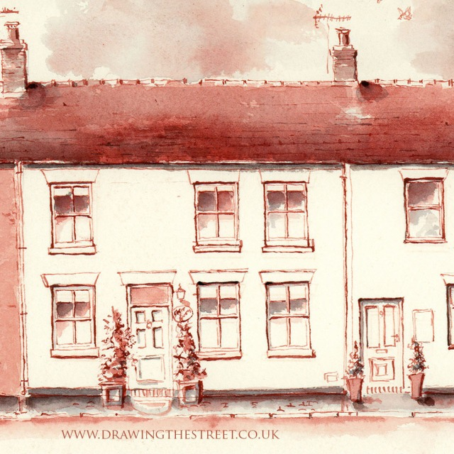 Station Cottages, Baldwins Gate drawing by Ronnie Cruwys Drawing the Street