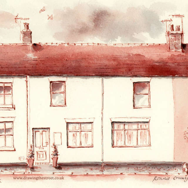 pen and ink drawing of station cottages Baldwins Gate by Ronnie Cruwys