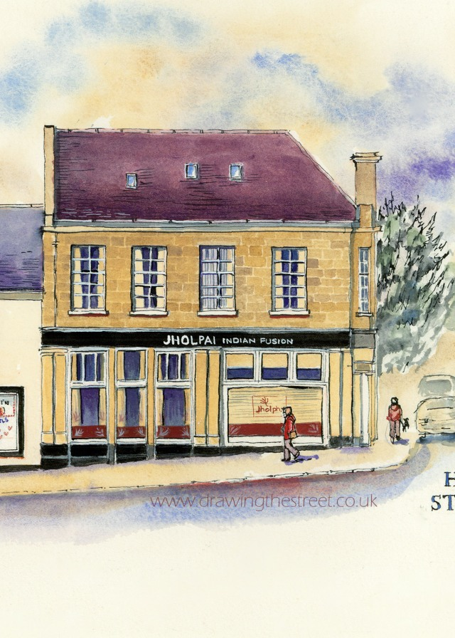pen ink and wash drawing of Hope Street Lanark by ronnie cruwys