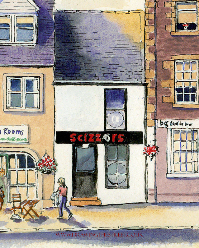 hair salon, drawn by ronnie cruwys in lanark scotland
