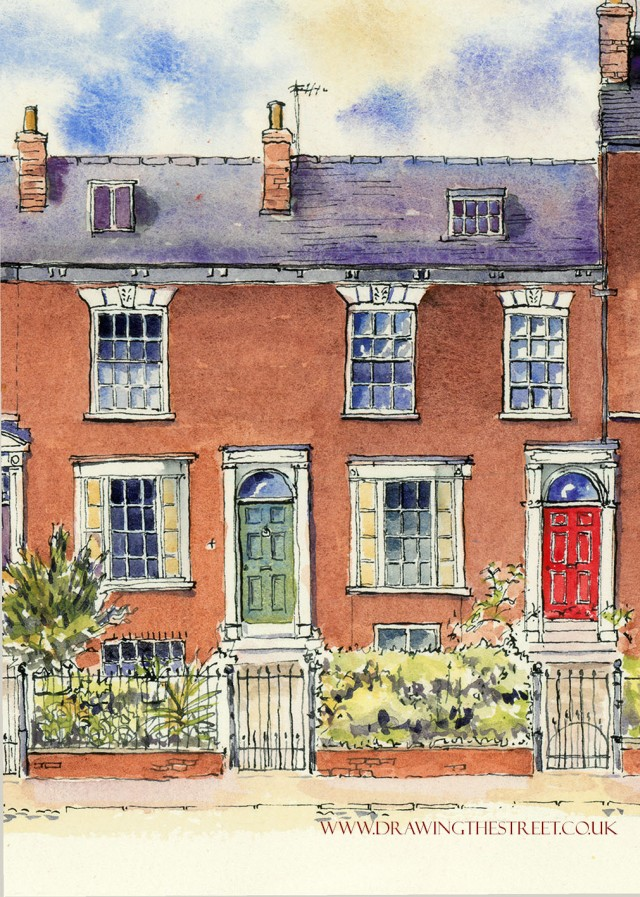 georgian terraced houses in york drawn by ronnie cruwys