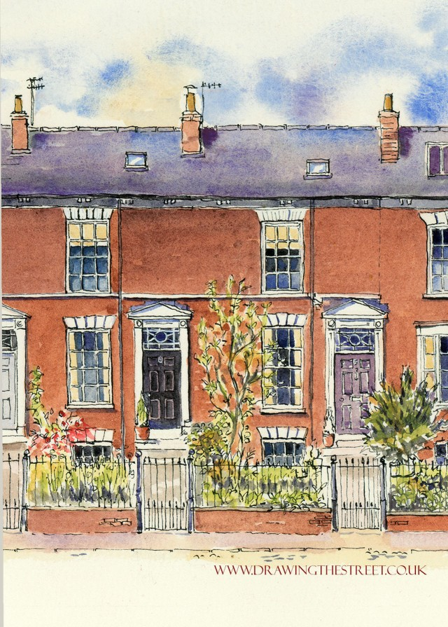 gerogian red brick terraced houses drawn by artist ronnie cruwys