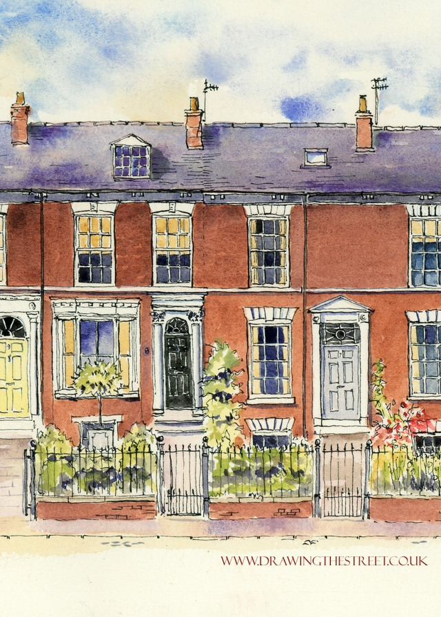 pen and ink drawing of Mount parade, york by Ronnie Cruwys