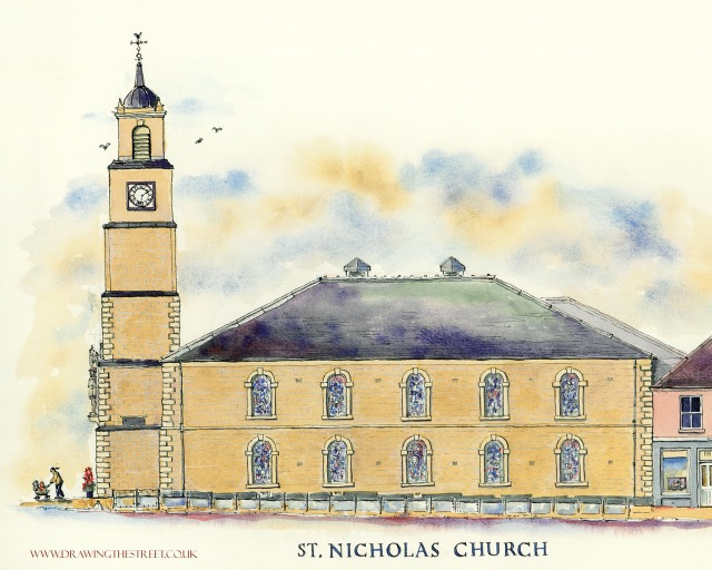 pen and ink drawing of st nicholas church lanark