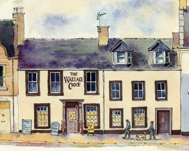 pen and ink drawing of wallace cave pub, lanark by ronnie cruwys