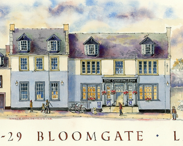 clydesdale inn, pen and ink drawing of a pub in lanark