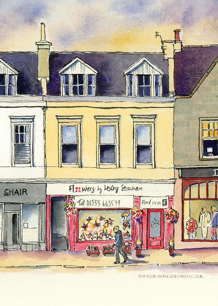 sketch of Lesley Strachan's florist shop lanark