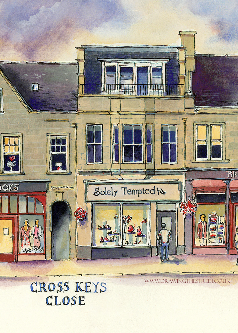 pen and ink drawing of Lanark shop, Solely Tempted by Ronnie Cruwys