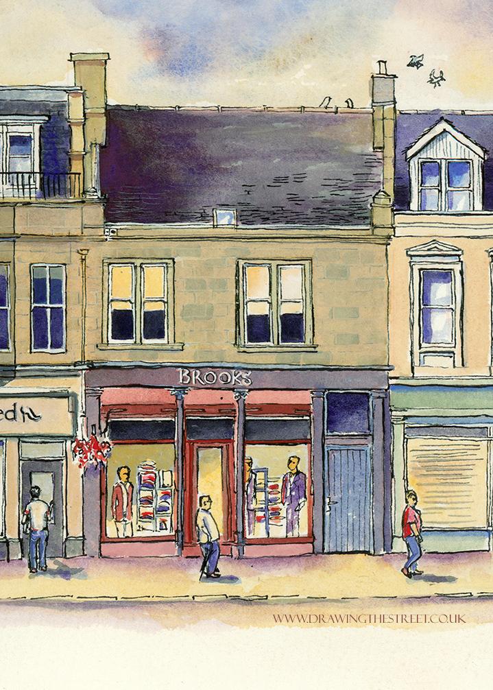 Brooks mens clothing shop stone fronted building lanark