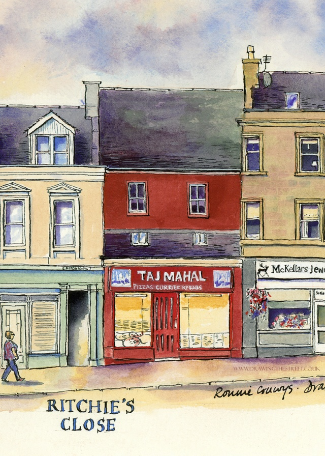 pen and ink drawing of takeaway lanark